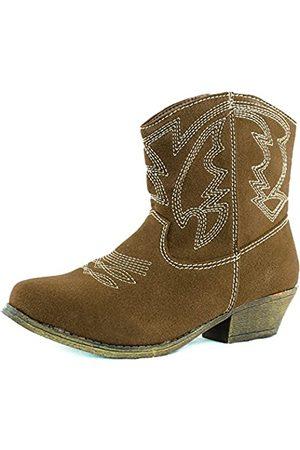 Nature Breeze Women's Austin-02 Camel Suede Cowboy Booties Shoes