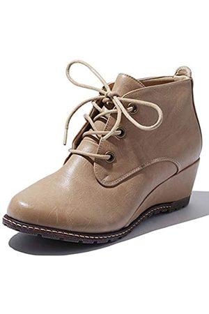 DailyShoes DailyShoes Damen Fashion Up Round Toe Ankle High Oxford Wedge Bootie, Beige (Beige PU)