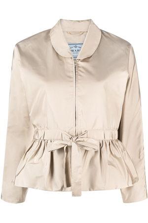 Prada Tie-waist bomber jacket - Nude
