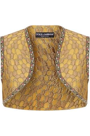 Dolce & Gabbana Jacquard-woven cropped gilet