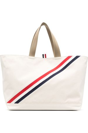 Thom Browne RWB stripe canvas tote bag - Nude
