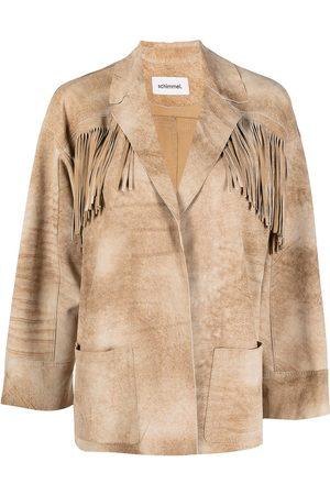 Sylvie Schimmel Fringed goatskin leather jacket - Nude