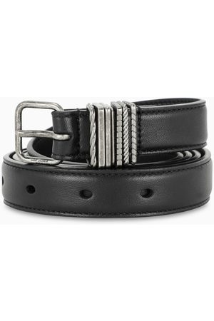 Saint Laurent Black belt with loops overlay