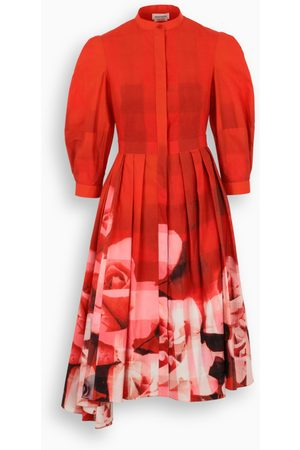 Alexander McQueen Red rose check dress