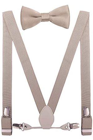 YJDS Herren Jungen Leder Hosenträger und Fliege Set elastisch für Hochzeit - Beige - 61 cm/0-3 Jahre