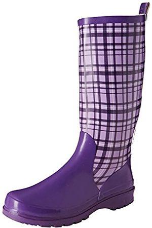 Playshoes Damen Gummistiefel, trendiger Regenstiefel aus Naturkautschuk, mit herausnehmbarer Innensohle, mit Karo-Muster, (Flieder 10)