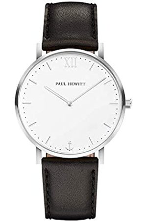Paul Hewitt PAUL HEWITT Armbanduhr Männer Edelstahl Sailor Line White Sand - Herren Uhr Lederarmband (Schwarz), Silberne Herren Armbanduhr