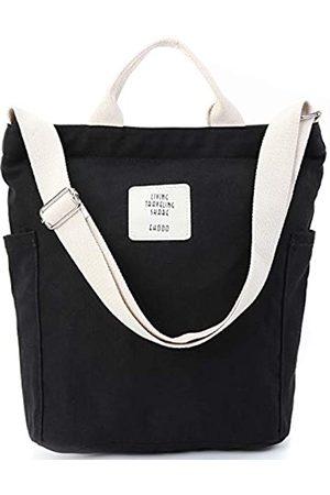 Fashion Modern WORLDLYDA Worldlyda Damen-Handtasche aus Segeltuch mit Tragegriff (schwarz)