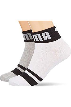 PUMA Mens Seasonal Logo Men's Quarter (2 Pack) Casual Sock, White/Grey