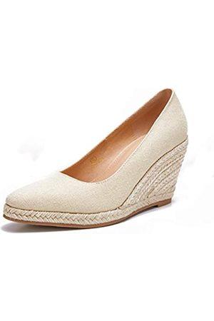 Ruanyu Damen Plateau Espadrilles Keil Sandalen Slip On Geschlossene Zehen Keilpumps Schuhe