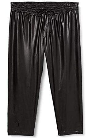 Dorothy Perkins Damen Curve Black PU Trousers Lässige Hose
