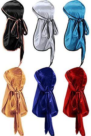 Tatuo 3 Stück Seidiger Durag und 3 Stück Samt Durag Soft Headwrap Du-Rag mit Langem Schwanz und Breiten Trägern für 360 Wellen (Farbe 2)