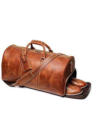 LEATHFOCUS Leathfocus Reisetasche aus Leder, klassische Leder-Wochenendtasche für Herren, Geschenk über Nacht, Retro, Sport, Fitnessstudio, Handgepäck