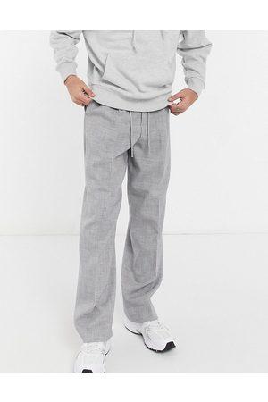 ASOS DESIGN Herren Chinos - – Elegante Hose in mit weitem Bein und Kreuzschraffur