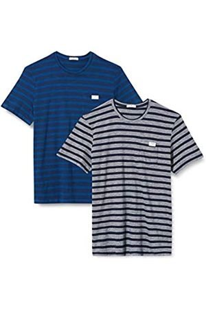 TOM TAILOR Herren Doppelpack T-Shirt, 15482-Blue White Stripe