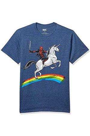 Marvel Marvel Deadpool Riding A Unicorn On A Rainbow T-Shirt - Blau - X-Groß