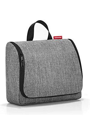 Reisenthel Reisenthel toiletbag XL WO7052 in twist silver – Kulturbeutel mit 4l Volumen – Aufklappbar mit Haken zum Aufhängen und Spiegel – B 28 x H 25 x T 10 cm
