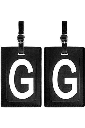 Lugbetter Gepäckanhänger Initial Leder (passendes 2er Set): kontrastreiche Initiale - Flexible Reiseanhänger mit extra Adresskarten und Sichtschutzklappe zum Schutz persönlicher Daten