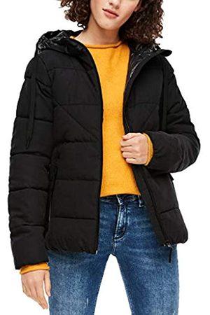 s.Oliver Damen Wetterfeste Jacke mit glänzender Kapuze black XS