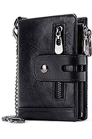 boshiho Geldbörse Herren Echtleder mit Kette RFID-Blockierend Geldbeutel Männer Viele Fächer Doppelte Falte Doppelreißverschluss Münztasche Diebstahlschutz Brieftasche (black2-us)