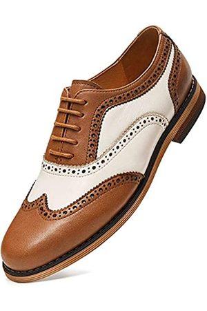 GIFENNSE GIFENNSE Damen Oxfords Handgemachte Mehrfarbige Flügelspitze Derby Schnürschuhe Leder Kleid formelle Schuhe für Damen Mädchen, Braun (Braun / Weiß)