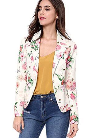 Allegra K Damen Blazer & Sakkos - Damen Langarm Offen Revers Blumen Blazer Jacke XL