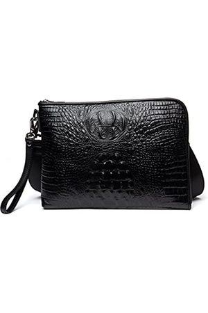 KIMINII KIMINII DANJUE Damen Clutch/Handtasche aus echtem Leder, Krokodil-Design, große Kapazität, Schultertasche für iPad D8088 (schwarz)