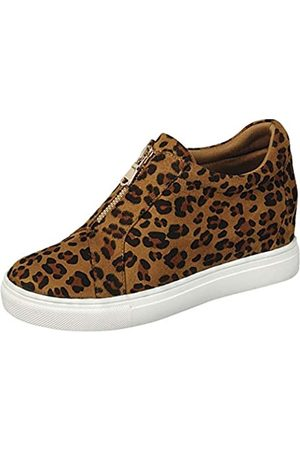 Gen Now Keil-Sneakers, hoher Reißverschluss, versteckter Absatz, Schwarz (leopard)