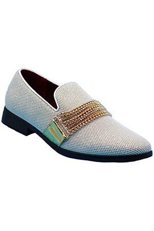 Enzo Romeo SP34 Herren Vintage Mode Kette Schnalle Kleid Loafers Slip On Schuhe Smoking Kleid Schuhe, Weiá (weiß)