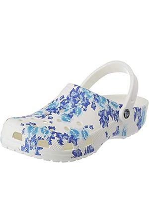 Crocs Unisex Classic Printed Floral Clogs, White/Blue