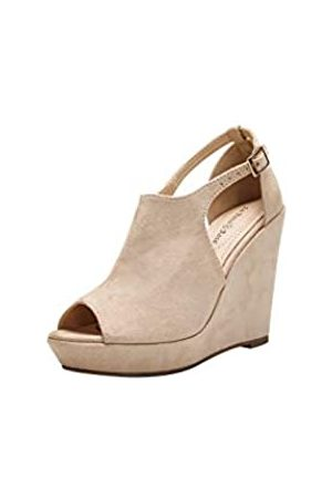 Ashley A Collection Ashley A Collection LISA20 Damen Plateau Wedges Cutout Side Straps Peep-Toe Ankle Bootie, Beige (nude)