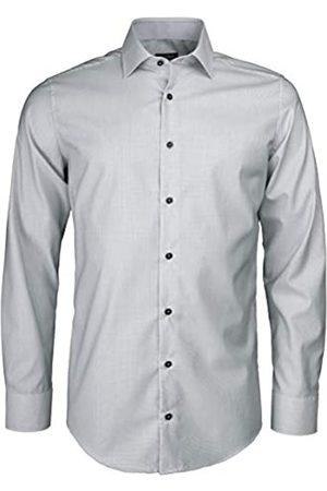 Roy Robson Herren Hemd aus Baumwolle Regular Fit Bügelfrei Microstruktur (hellgrau