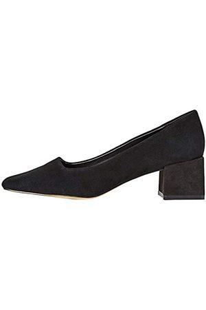 FIND Block Heel Suede Pumps, Black)