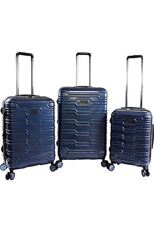 Original Penguin Collins 3 Piece Set Expandable Suitcase with Spinner Wheels, Metallic Blue
