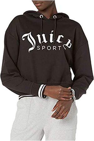 Juicy Couture Damen Cropped Logo Pullover Hoodie Kapuzenpulli