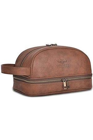 Vetelli VETELLI Herren Kulturtasche aus Leder in | Luxus Vintage Kulturbeutel | Kosmetiktasche mit 2 Reiseflaschen