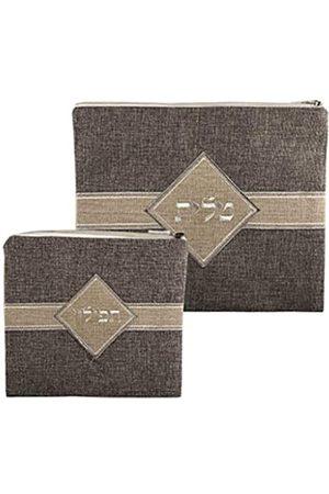 Judaica Unlimited LInen Tallit und Tefilin Taschenset mit Kunststoffschutz und Beige