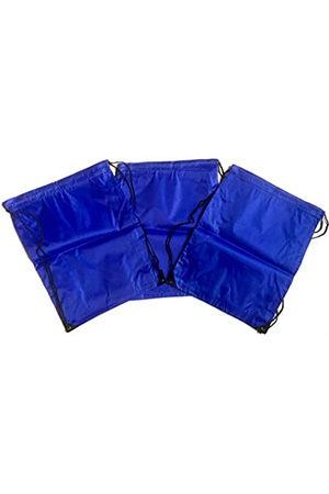 TheAwristocrat 3 Stück Nylon Kordelzug Rucksäcke Sackpack Tote Cinch Gym Bag – verschiedene Farben (Blau) - TA-DSB-BLU-R-CA
