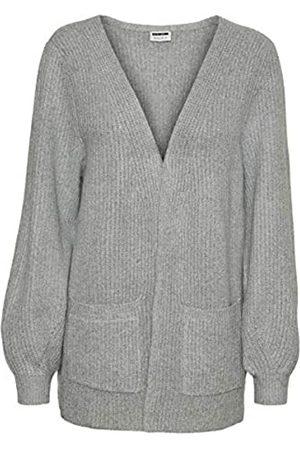Noisy May Damen Strickpullover - Female Strickjacke Offene Slight Grey Melange