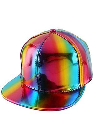 FALETO Verstellbare glänzende holografische Baseballkappe, reflektierend, Hip-Hop-Rave-Hut