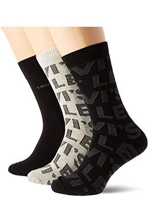 Levi's Unisex-Adult Logo All-Over Print Regular Cut Giftbox (4 Pack) Sock, Black/Grey