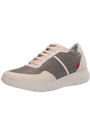 Marc Joseph New York Damen Leather Luxury Fashion Sneaker Wedge Turnschuh, Nappa in Steingrau weich/Krokodil