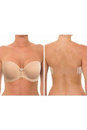 YANDW Damen Gepolsterte BHs - Trägerloser, leicht gepolsterter BH mit voller figurbetonter Abdeckung, transparenter Rücken, unsichtbare Träger