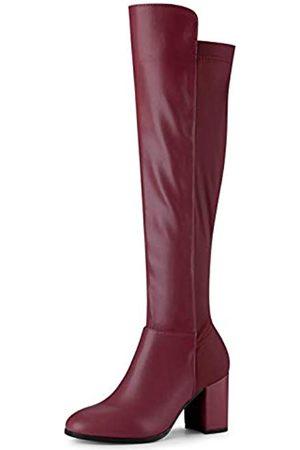 Allegra K Allegra K Damen-Stiefel, runder Zehenbereich, kniehoch, klobiger Absatz, Rot (burgunderfarben)