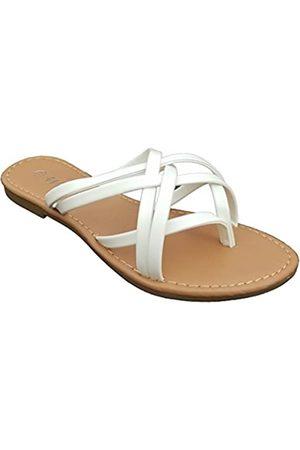 Welwel Elegant Damen Fashion Strappy Flip Flop Flache Sandalen, Weiá (Double Strap White)