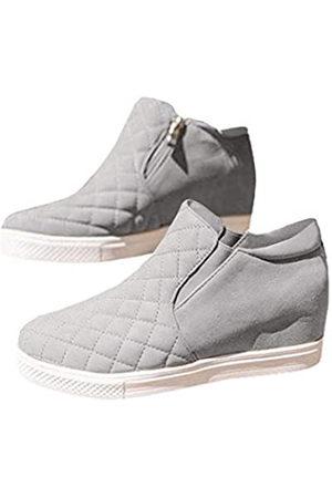 Chellysun Damen Keil-Sneaker Plateau High Top Classic Side Zipper Winter Stiefeletten