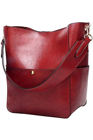 Molodo Damen Satchel Hobo Spitzenhandgriff-Schulter-Handtasche aus weichem Leder Umhängetasche Designer-Handtaschen-große Kapazitäts-Bucket-Taschen X-Large Weinrot