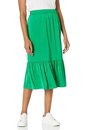THE DROP Damen Midiröcke - Damen-Midirock Jerry, zum Überziehen, weiter Saum, elastischer Bund am Rücken, seidiger Stretch-Stoff (Emerald Green)