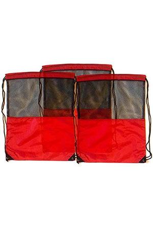 TheAwristocrat 3 Stück Nylon Kordelzug Rucksäcke Sackpack Tote Cinch Gym Bag – verschiedene Farben (Rot) - TA-DSB