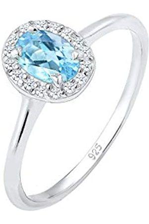 Elli Elli PREMIUM Ring Damen Verlobungsring Topas mit Diamant (0.16 ct.) in 925 Sterling